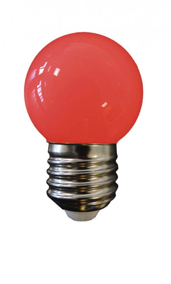 Bombilla esférica LED E27 (roja)