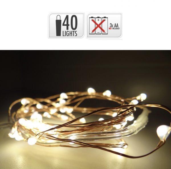 Guirnalda a pilas con alambre color cobre (40 LEDS)