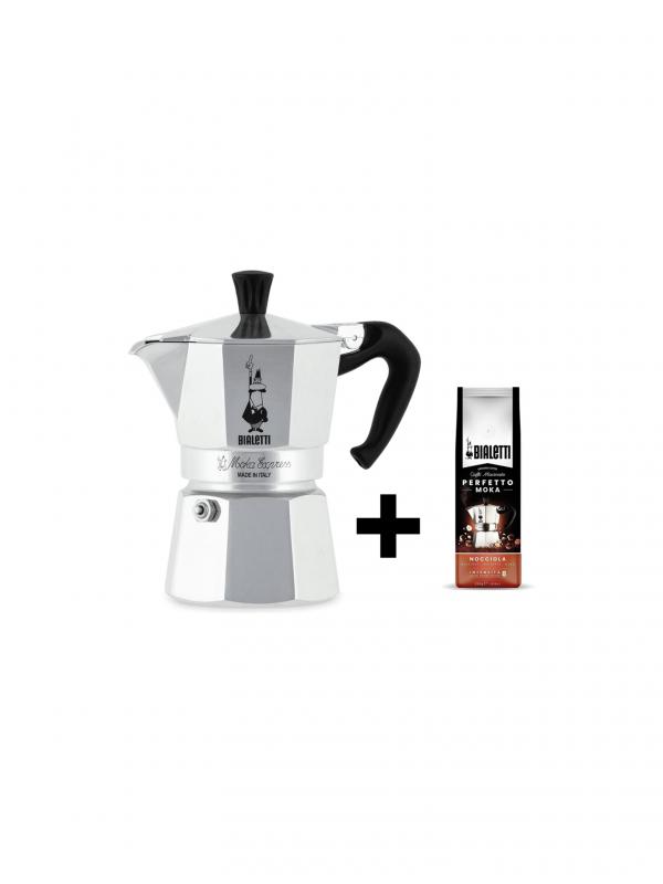 Set Moka Express de Bialetti (3 tazas + 250 g de café)