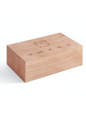 Reloj-despertador Flip Click Clock (madera de cerezo)