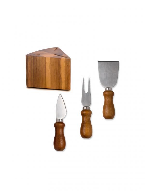 Juego de utensilios para queso (madera e inox)