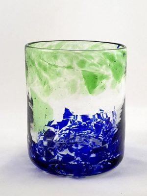 Vaso de vidrio Verde y Azul